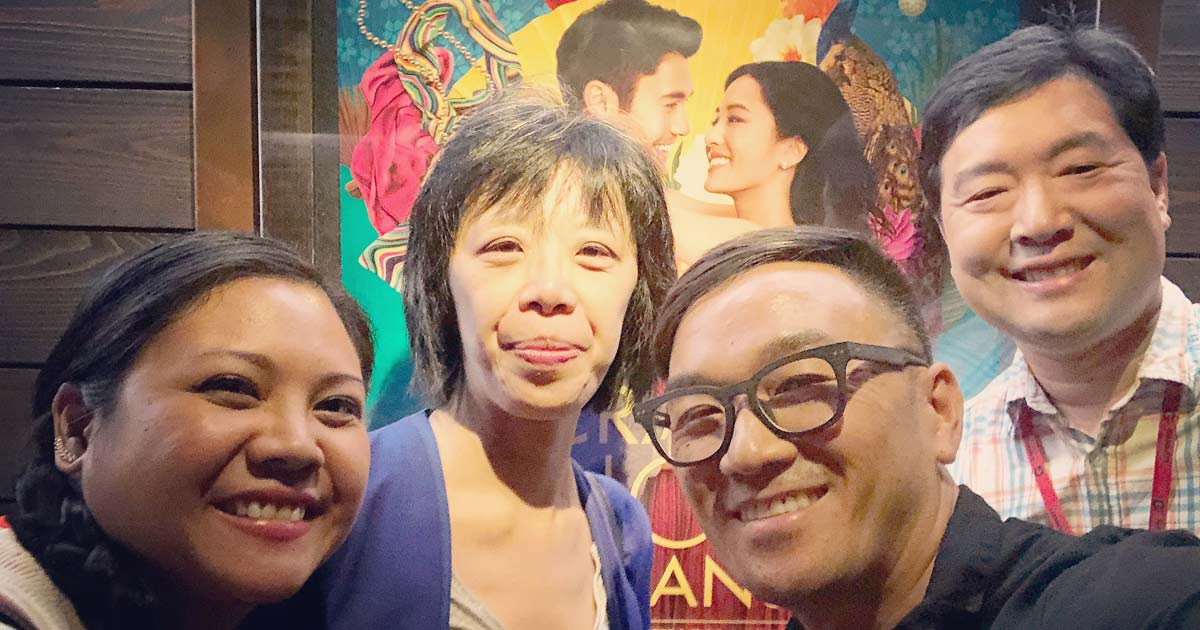 """Toan Lam and friends at a screening of """"Crazy Rich Asians'"""